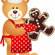 Cook Teddy Bear Christmas Cookies Man — Stock Vector #33351353