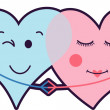 Couple Hearts Love — Stock Vector