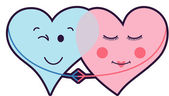 çift kalpler aşk — Stok Vektör