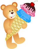 Teddy Bear with Ice Cream Cone — Stock Vector