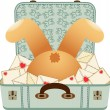 Teddy bear upside down in the love letter suitcase — Stock Vector