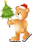 Teddy Bear Ice Skating Holding Christmas Tree — Stock Vector