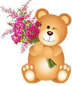 Teddy Bear Holding Flowers — Stock Vector