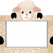 Cute Sheep With Bank Label — Stock Vector