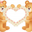 Couple Teddy Bear holding Embroidered Heart — Stock Vector #34796083