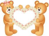 Couple Teddy Bear holding Embroidered Heart — Stock Vector