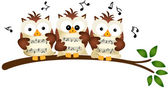 Three Owls Choir Singing — Stock Vector