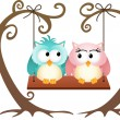 Cute couple owls in love on a swing — Stock Vector