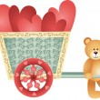 Teddy bear pushing a cart of hearts — Stock Vector #35013785