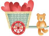 Teddy bear pushing a cart of hearts — Stock Vector
