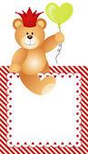 Frame Lovely Teddy Bear — Stock Vector