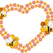 Bee and his honey flower heart frame — Stock Vector