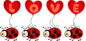 Ladybird Holding Love Heart Balloon — Vector de stock