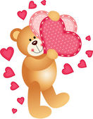 Teddy Bear Holding a Hearts — Stock Vector