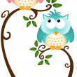 Cute Couple Owls On The Tree — Stock Vector #37234337