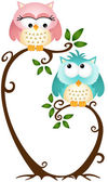 Cute Couple Owls On The Tree — Stock Vector