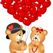 Teddy Bear Couple with Heart Shaped Balloons — Stock Vector #37607615