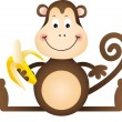 Stock Vector: Monkey Eating Banana