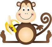 Mono comiendo plátano — Vector de stock