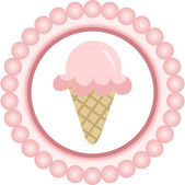 Cono de helado rosa redondo etiqueta — Vector de stock