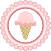 Pink Ice Cream Cone Round Label — 图库矢量图片
