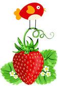 Bird on Strawberry — Stock Vector
