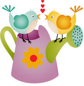 Love Birds on Watering Can — Stockvector