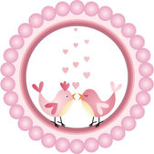 Love Birds Round Label — Stock Vector