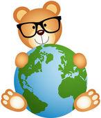 Teddy Bear with Globe — Stock Vector