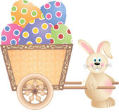 Happy Bunny Pushing Cart Full of Easter Eggs — Stock Vector