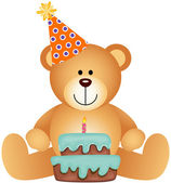 Teddy Bear with Birthday Cake — Stock Vector