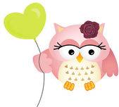 Pink Owl with Balloon — Vettoriale Stock