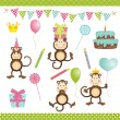 Monkey Birthday Party — Stock Vector