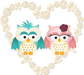 Couple owls in heart — Stock Vector