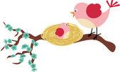 Mother bird and her birdie — Stock Vector