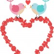 Heart frame with cute birds on floral heart — Stock Vector