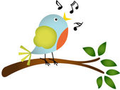 Little bird singing on a tree branch — Stock Vector
