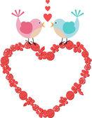 Heart frame with cute birds on floral heart — Stok Vektör