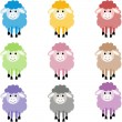 Cute sheep in different colors — Stock Vector #41347917