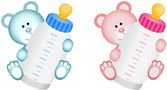Lovely Baby Teddy Bear with Baby Bottle — Stock Vector