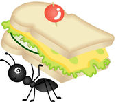 Ant Carrying Cheese Sandwich — Stock Vector