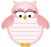 粉红色的宝宝猫头鹰与标签 — 图库矢量图片
