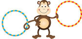 Monkey with Hula Hoops — Stock Vector