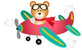 Teddy bear fly on a airplane — Stock Vector