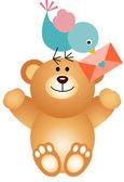 Cute bird deliver Valentine to teddy bear — Stock Vector