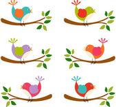 Cute bird colorful digital — Stock Vector