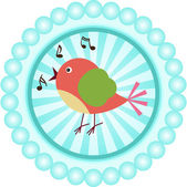 Cute singing bird round sticker — Stock Vector