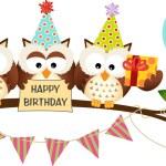 Cute Three Owls Happy Birthday — Stock Vector #44275815