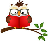 Owl reading a book on tree branch — Vector de stock
