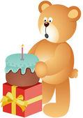 Teddybär Kerze Ausblasen — Stockvektor